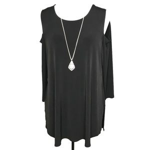 Alfani Woman Black Cold Shoulder Tunic Top A070200